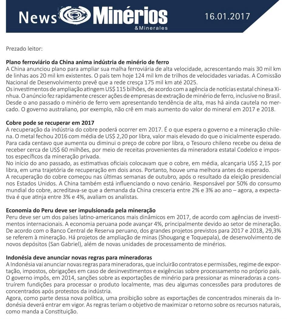 Minérios & Minerales News